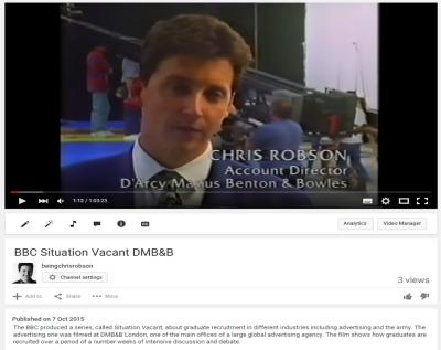 Chris Robson, Account Director at DMB&B hiring graduates
